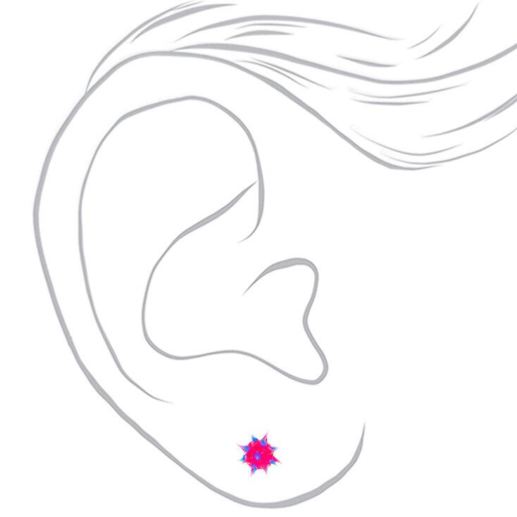 Sterling Silver Blue & Pink Rave Ball Stud Earrings,