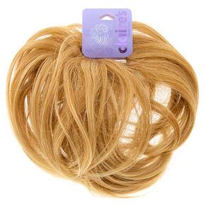 Extension en cheveux synthétiques blonds pour chignon,