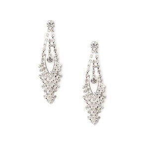"Silver Rhinestone 2"" Cascading Drop Earrings,"