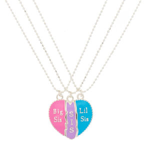 Sisters Pastel Heart Pendant Necklaces - 3 Pack,