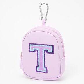 Purple Varsity Initial Mini Backpack Keychain - T,