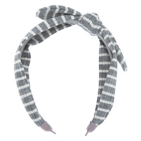 Ribbed Striped Knotted Bow Headband - Grey,