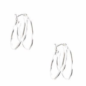 Silver 20MM Triple Hoop Earrings,