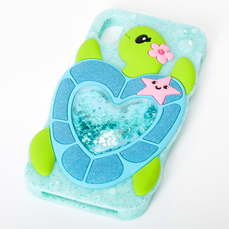 Turquoise Shaker Glitter Tessa the Turtle Silicone Phone Case - Fits Iphone XR,