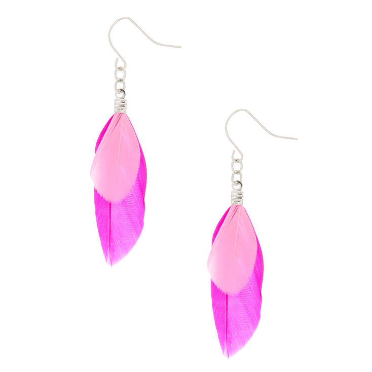 2 Feather Drop Earrings Pink Claire S
