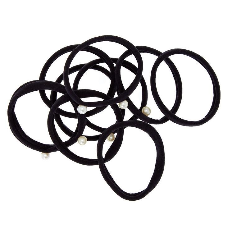 Faux Pearl Black Hair Ties 10 Pack,