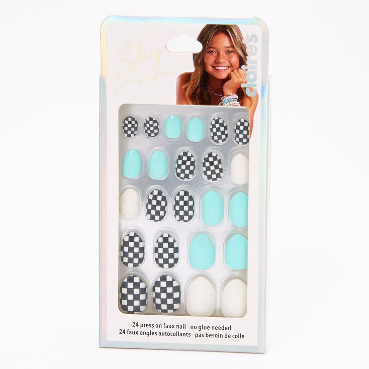 Sky Brown™ Checkered Stiletto Faux Nails – Mint, 24 Pack,