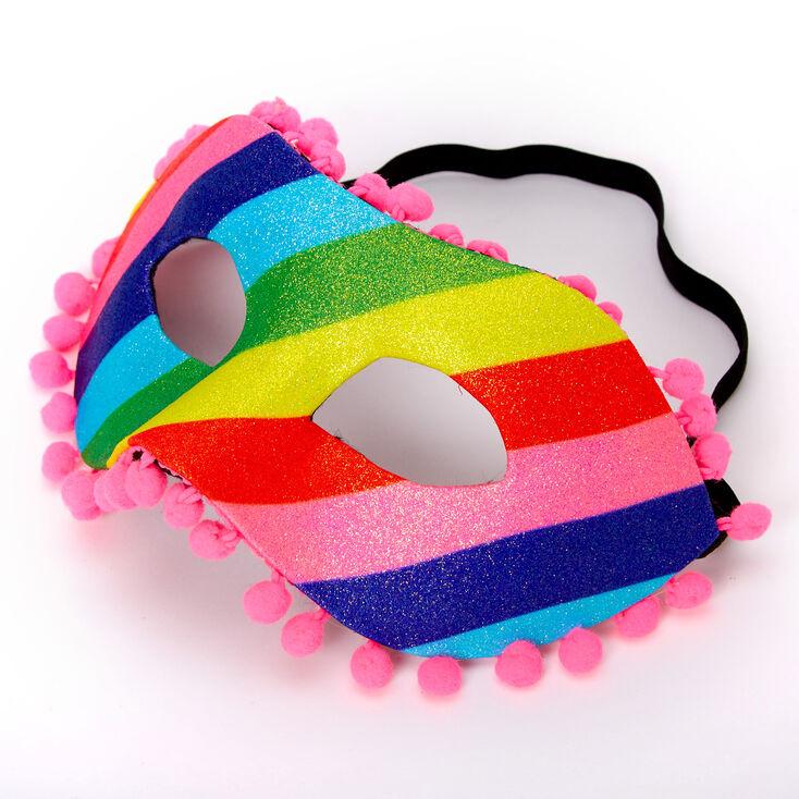 Rainbow Striped Glitter Pom Pom Mask,