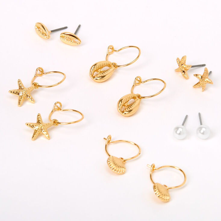 Gold Pearl Beach Vibes Mixed Earrings - 6 Pack,