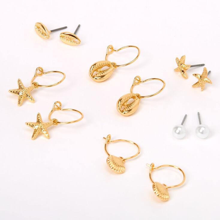 Boucles d'oreilles diverses ambiance plage perles d'imitation couleur dorée - Lot de 6,