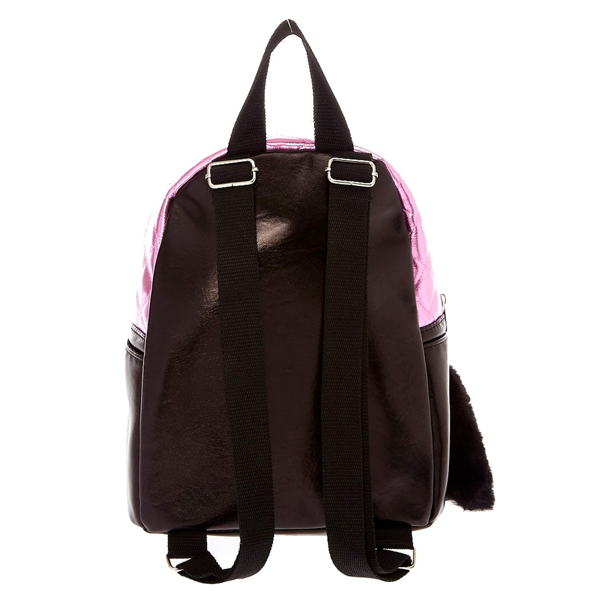 Black Pink Metallic Cat Mini Backpack Claires Tas Laptop Arizona