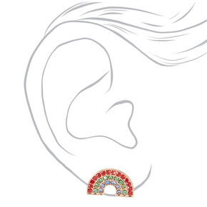 Silver Embellished Rainbow Stud Earrings,