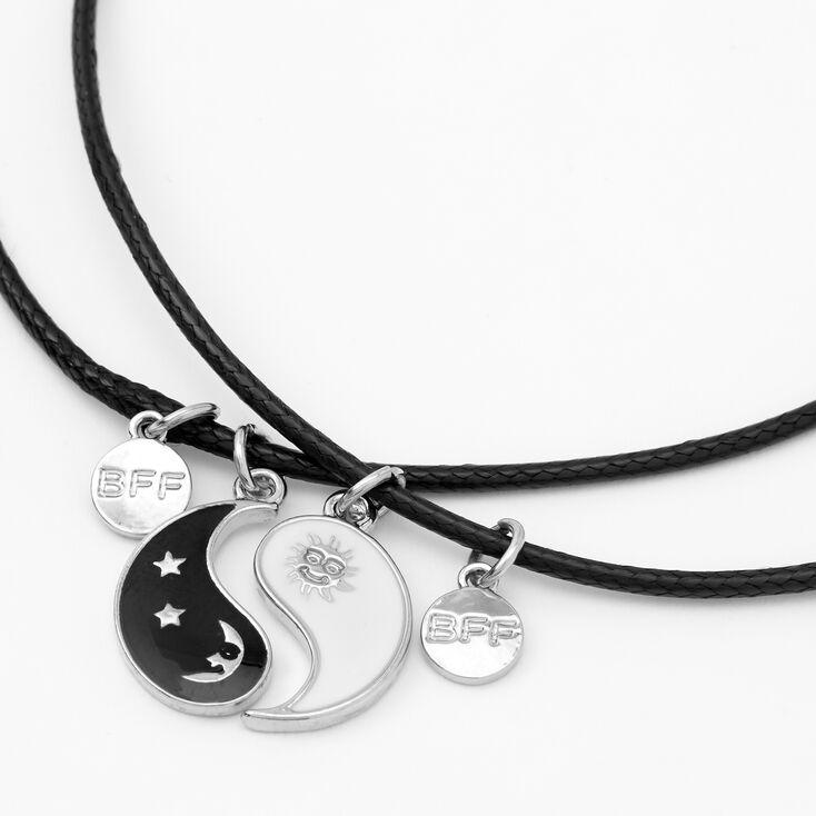 Best Friends Sun & Moon Yin Yang Pendant Cord Necklaces - 2 Pack,