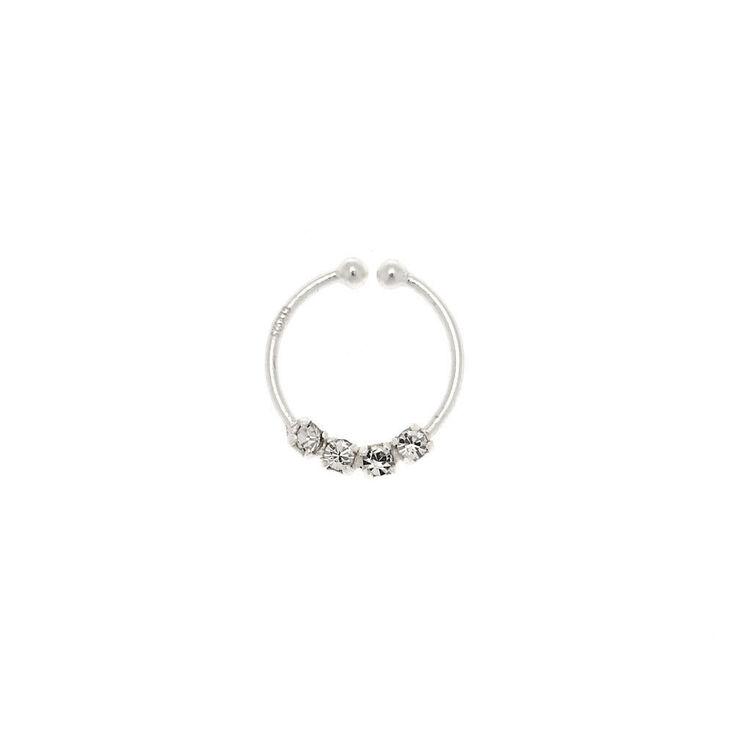 Faux anneau de nez avec strass couleur argentée,
