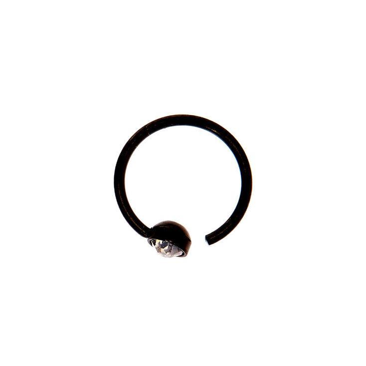 Black 20G Embellished Nose Ring,