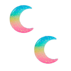 Silver Pastel Rainbow Moon Stud Earrings,