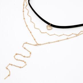 Gold Heart Cord Choker Multi Strand Necklace - Black,