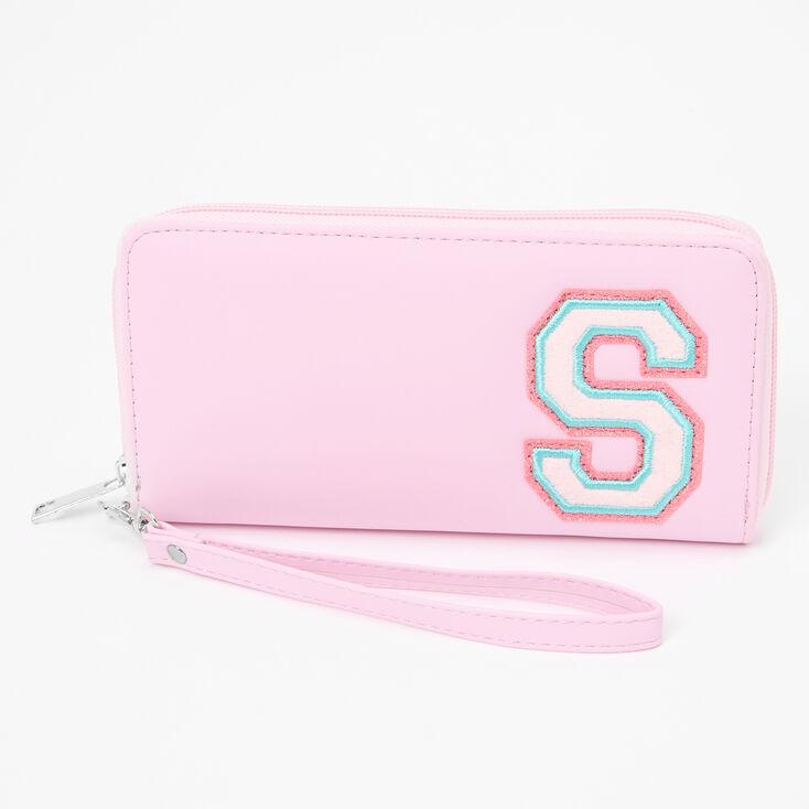 Pink Varsity Initial Wristlet - S,
