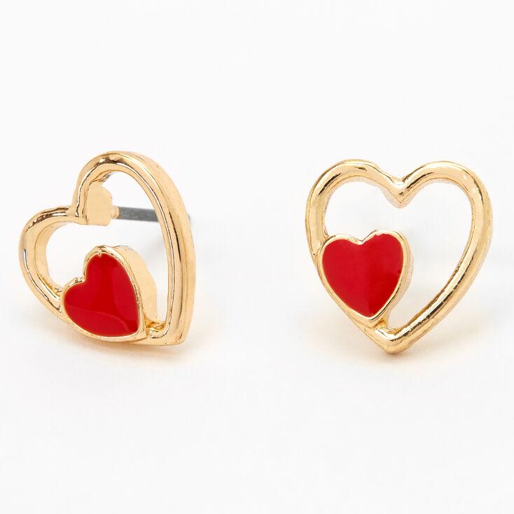 Gold Double Heart Stud Earrings - Red,