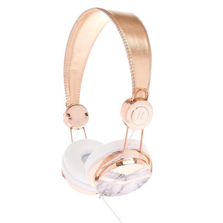 Rose Gold Tone & Marble Print Headphones,