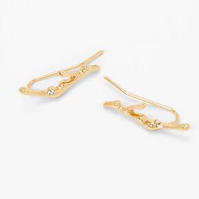 Gold Drip Ear Crawler Stud Earrings,