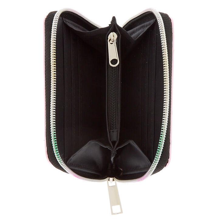 Love Mirrored Mini Zip Wallet - Pink,