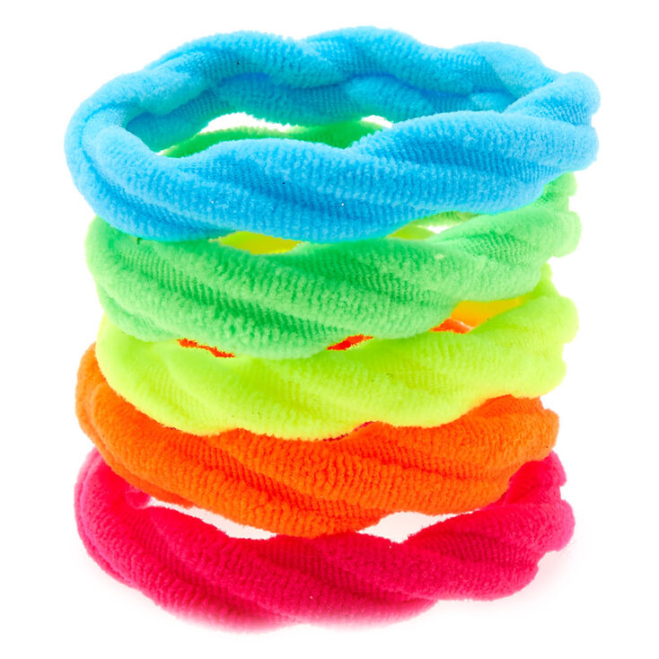 Large Neon Rainbow Twisted Hair Bobbles - 5 Pack,
