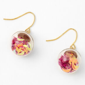 "Gold 1"" Celestial Confetti Shaker Drop Earrings - Purple,"