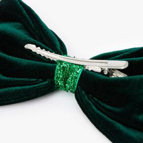 Velvet Bow Hair Clip - Emerald,