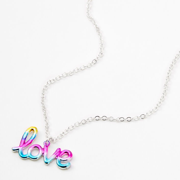 Silver Anodised Love Script Pendant Necklace,