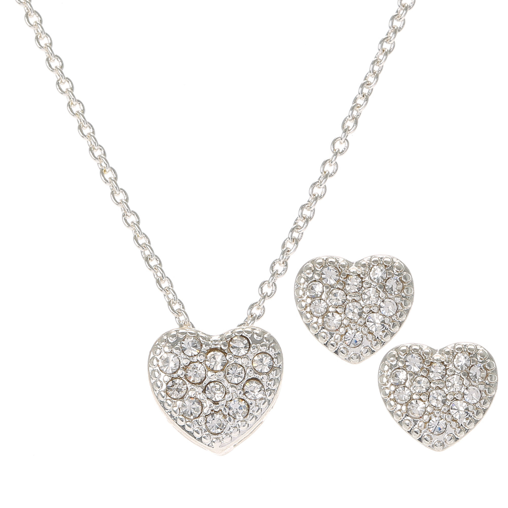 Silver Crystal Heart Necklace Earrings