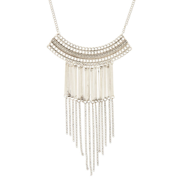 Metallic Fringe Bib Pendant Necklace,