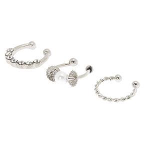 Silver Crystal Pearl Faux Cartilage Hoop Earrings - 3 Pack,