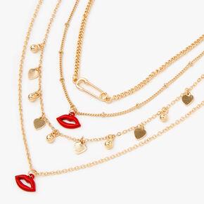 Collier multi-rangs cœurs et lèvres couleur dorée,