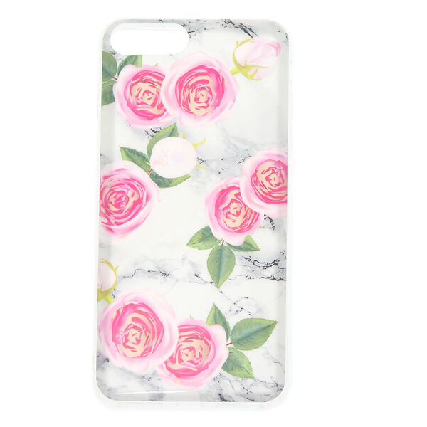 Claire's - peonies marbled phone case - 1