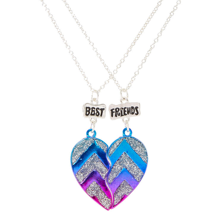 Best Friends Metallic Glitter Chevron Split Heart Pendant Necklaces,
