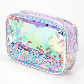 Shaker Glitter Transparent Makeup Bag - Purple,