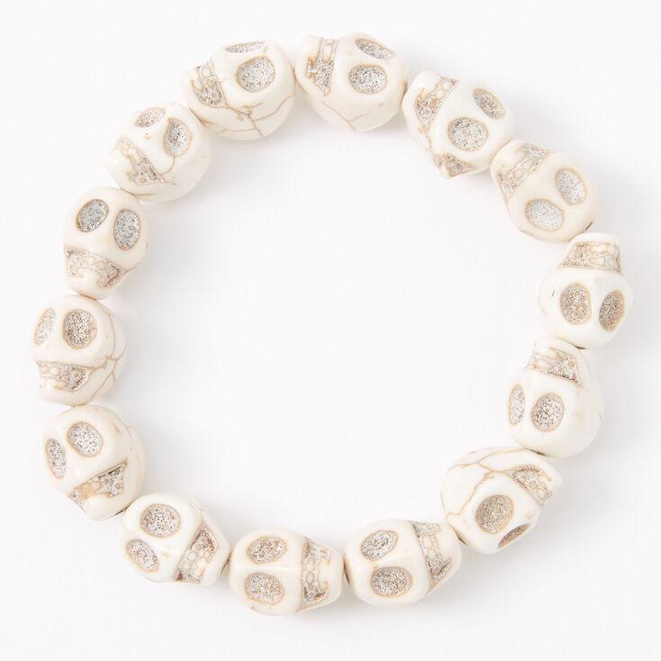 Skull Stretch Bracelet - White,
