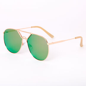 New Age Aviator Sunglasses - Rose Gold,