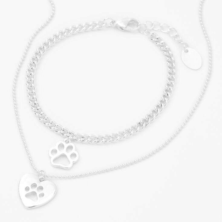 Silver Paw Print Jewelry Set - 2 Pack,
