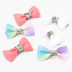 Claire's Club Tie-Dye Bow Hair Clips - 6 Pack,