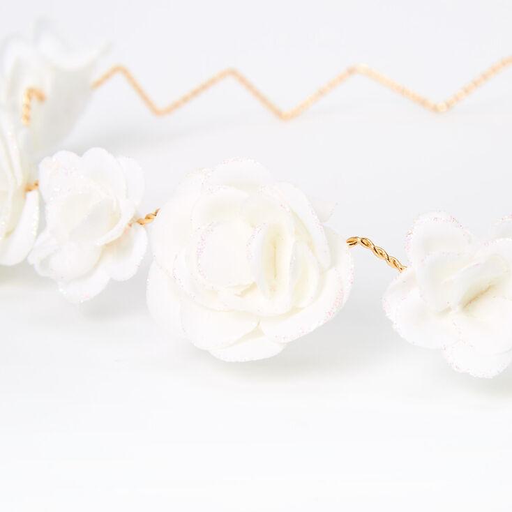 Glitter Roses Flower Crown Headwrap - White,