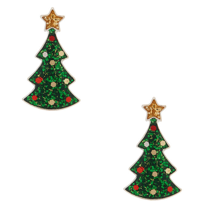 Christmas Tree Picture.Silver Glitter Christmas Tree Stud Earrings Green