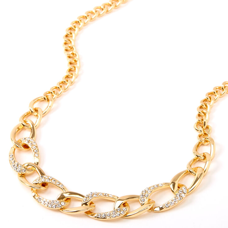 Gold Embellished Chunky Chain Necklace,