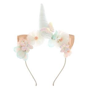 Holographic Unicorn Cat Ears Headband - White,