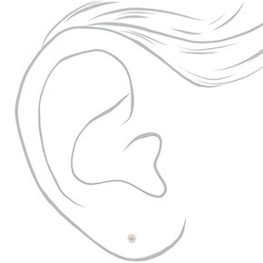 Gold Titanium Cubic Zirconia Round Stud Earrings - 5MM,