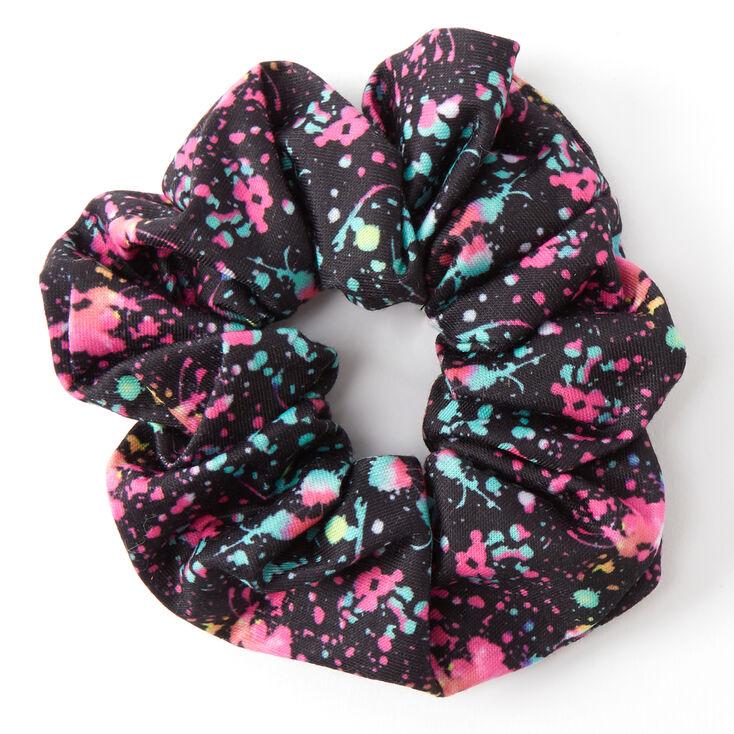 Medium Blue & Pink Paint Splatter Hair Scrunchie,