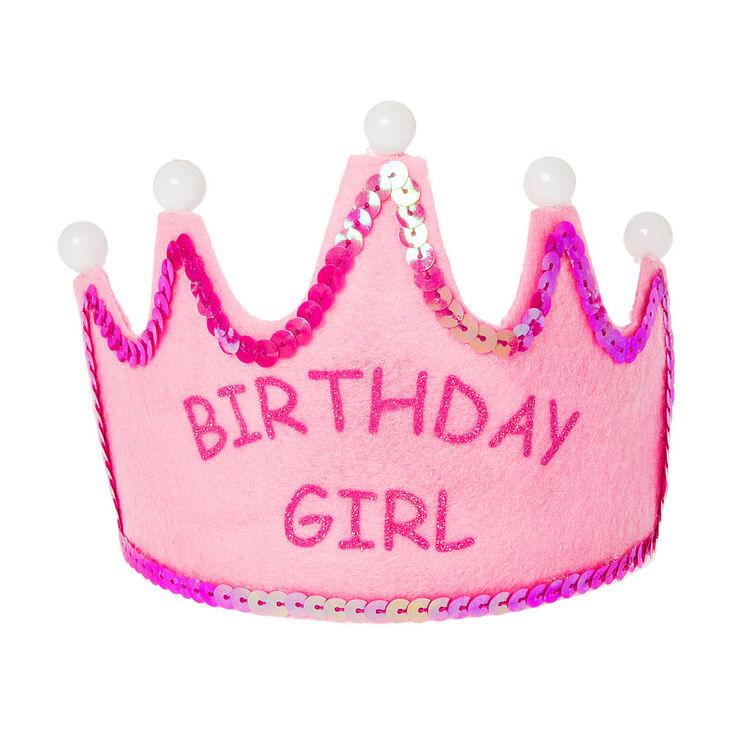 Kids Pink Birthday Girl Light Up Tiara,