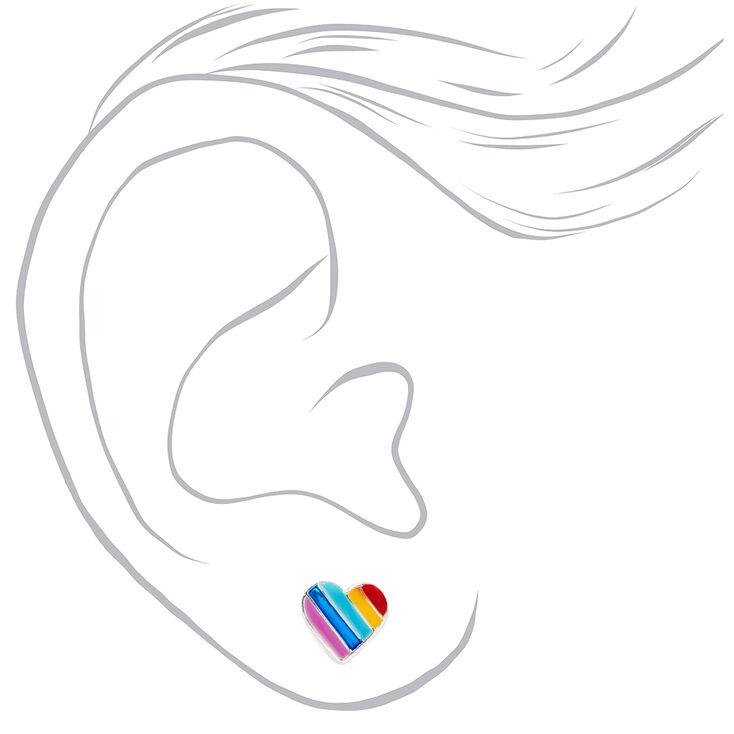 Sterling Silver Rainbow Striped Heart Stud Earrings,