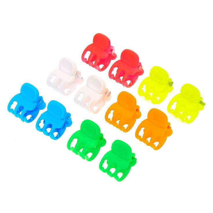 Matte Neon Rainbow Mini Hair Claws - 12 Pack,